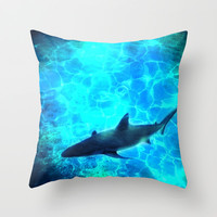 Shark! Throw Pillow by EllipsisArts