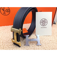 Auth HERMES Reversible double H Gold/Silver Buckle Black Leather Men's Belt 110