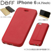 Strapya World : Deff Genuine Card Flip Type Leather Case for iPhone 6 (Red)