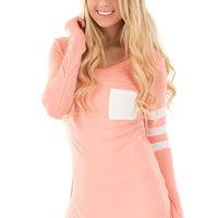 Peach Long Sleeve Top with Ivory Detail