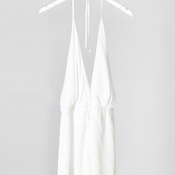 Halter Deep V Simple Romper - Ivory
