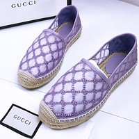 Gucci Lace Sandals macaron series fisherman shoes mesh fabric rubber injection integrated grass rope bottom purple