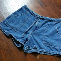 "Women 9 100% Cotton Blue Denim Drawstring Front Pocket Jean Shorts 31"" ParisBlue"