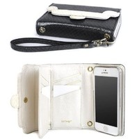 JAVOedge Cross Pattern 9 Card / ID Wallet Case with Removable Wristlet for the Apple iPhone 5s, iPhone 5 (Black)