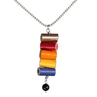 Colored pencil pendant with onyx bead