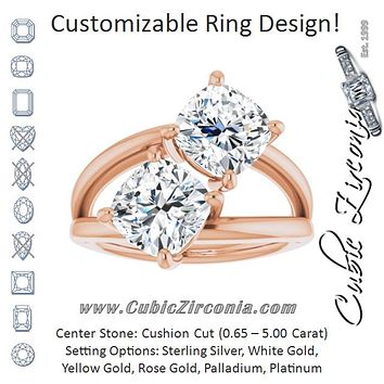 Cubic Zirconia Engagement Ring- The Melaine (Customizable Two Stone Double Cushion Cut Design with Split Bypass Band)