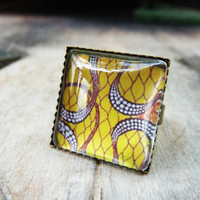 Yellow adjustable square ring, Bronze ring, Glass dome ring, Retro ring, Vintage ring, Statement ring