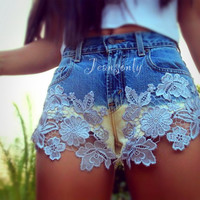 Lace shorts,Levis high waisted ombré lace shorts by Jeansonly