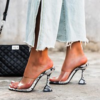 2020 new snake print women's stiletto heels shoes