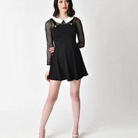 Retro Style Black Fishnet Long Sleeve Pinafore Flare Dress