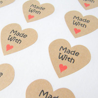 Brown Kraft Made with Love Heart Stickers with Red Heart, 100 pieces, Embellishment, Gift Bag Sticker, Gift Sticker