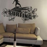 Vinyl Wall Decal Sticker Floral Surfing #OS_AA1234