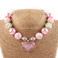 1Pc/lot New Arrival Glitter Pink Heart Chunky Bubblegum Necklace Girls Valentine Gift
