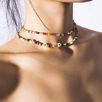 Handmade Rainbow Beads Candy Shell Personality Multi-layer Satellite Necklace Women's Fashion Jewelry Necklace