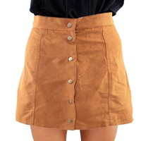 Sexy Style Fashion Women Skirt Stylish Mid Waist The Button Down Casual Solid  A-Line Ladies Skirt