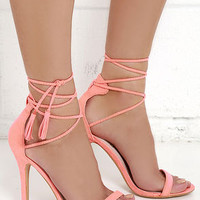Awe I Want Coral Suede Lace-Up Heels
