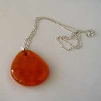 Orange Transclucent Teardrop Glass Pendant with Chain from Elke'sCreations
