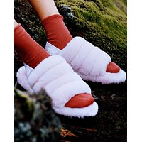 Bunchsun  UGG Hight Quality Women Fashion Fur Flats Contrast Color Keep Warm Shoes Sandals Slipper