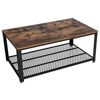 Metal Frame Coffee Table with Wooden Top and Mesh Bottom Shelf, Brown and Black By Casagear Home