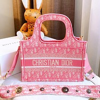 Onewel Dior shopping bag 2020 early  spring Mini Book Tote square bag advanced embroidery stitching pink