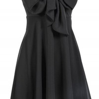 Black Strapless Chiffon Dress with Bow Front