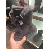 UGG Fashion Women Bow Leather Wool Snow Boots Half Boots Shoes 1