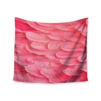 """Pink Feathers"" Wings Trendy Boho Wall Tapestry"