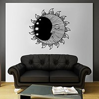 Moon Wall Decal Vinyl Sticker Decals Sun And Moon Crescent Dual Ethnic Stars Night Symbol Sunshine Bohemian Boho Home Decor Bedroom ZX99