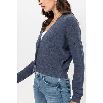Long Sleeve Button Down Napped Yarn Knit Crop Sweater Cardigan
