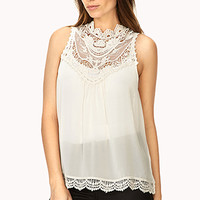 FOREVER 21 Classic Crocheted Lace Blouse Cream