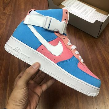 Air Force 1 Nike AF1 High Top Contrast Basketball shoes Pink Blue Powder