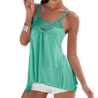 Summer Women 2016 Sexy Ladies Splicing Lace Blusas Loose Sleeveless Solid Causal Beach Tank Tops Strapless Crochet Cotton Vests