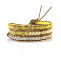 Yellow and Blue Crystals with Miyuki Glass Seed Beads on Natural Leather Wrap Bracelet