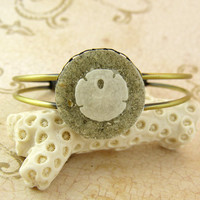 Sand Dollar Seashell Bracelet Bangle with Sand and Shell from Sanibel Florida