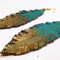 Teal and Gold Ombre' Leather Feather Earrings by Beatniq on Etsy