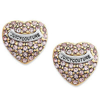 Juicy Couture Earrings, Pink Heart Pave Stud Earrings - Fashion Jewelry - Jewelry & Watches - Macy's