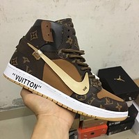 Lv X Nike Air Jordan 1 Borwn Men Women Basketball Shoes Sneaker