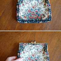 floral tapestry purse - vintage 60s french black fabric rose needlepoint clutch - gold twist clasp