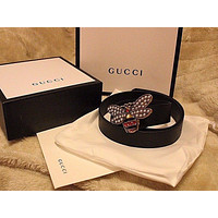 New Gucci  Black Leather bee Buckle Skinny Belt 120cm,BOX,BAG,