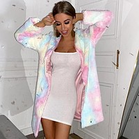 Fashion tie-dyed printed plush medium and long Mao Mao overcoat