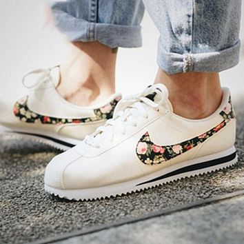 Nike Classic Cortez Forrest Sports Shoes Classic Shoes Leisure Sneakers White With Floral Hook