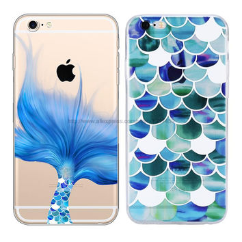 Beautiful Mermaid Scales Ultra Thin Soft Tpu Phone Case Coque For Apple Iphone 6 6s Plus Rubber Funda Cover