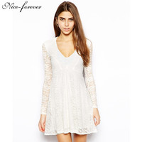 Sexy white Lace Mini dress New Arrival  fashion Celeb work long sleeve Vintage dress women Slim Pencil dress party dress b32