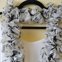 White Scarf, ruffle, with grey and black detail, spring accessories, woman, fashion, made in Ireland, hand knit, ruffle,