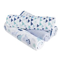 Aden by aden + anais Swaddle Blanket, Muslin Blankets for Girls & Boys, Baby Receiving Swaddles, Ideal Newborn Gifts, Unisex Infant Shower Items, Toddler Gift, Wearable Swaddling Set, 4 Pack, Dinos