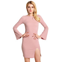 Long Flare Sleeve with Front Split and Back Cross Strap Knitted Bodycon Dress in Pink