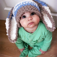 baby Infant rabbit big ear Newborn Handmade Crochet Knit Cap Hat Costume Photograph Prop outfits Baby Caps Hats 0-12months (Size: 0-6m) = 1958389380