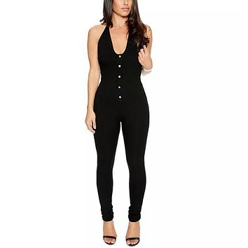 2016 Fashoin Summer Women Sleeveless Rompers Jumpsuit Solid Sexy Backless Bodycon Long Playsuits Casual Overalls Clubwear