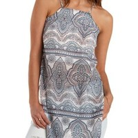 Ivory Combo Racer Front Chiffon Maxi Top by Charlotte Russe