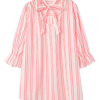 Trumpet-slevees Lace-up Loose Stripe Dress